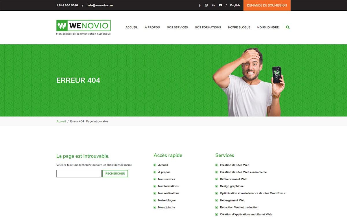 La page d'erreur 404 de Wenovio