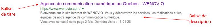 Les métadonnées dans les résultats de recherche Google.
