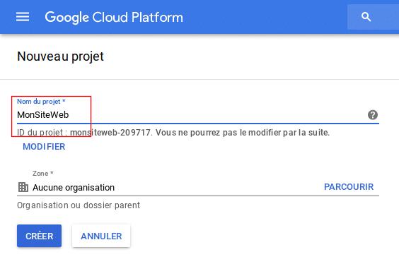 Google Cloud création projet