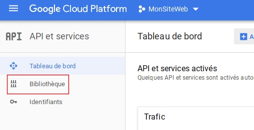 La bibliothèque pour la clé d'API Google Maps