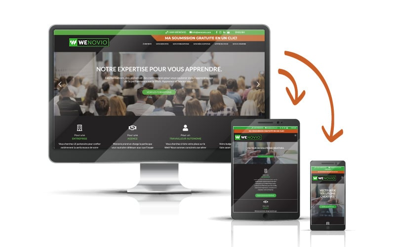 Exemple du design responsive du site de Wenovio