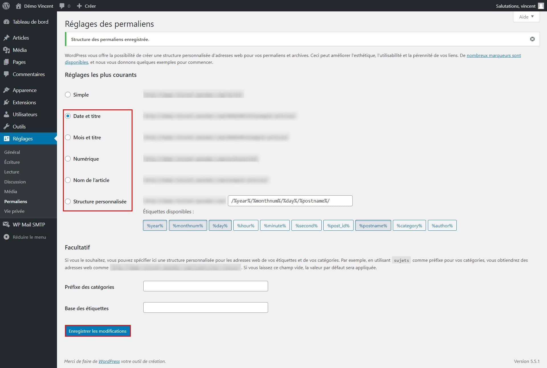 Réenregistrer les permaliens sur WordPress pour corriger une erreur 404.