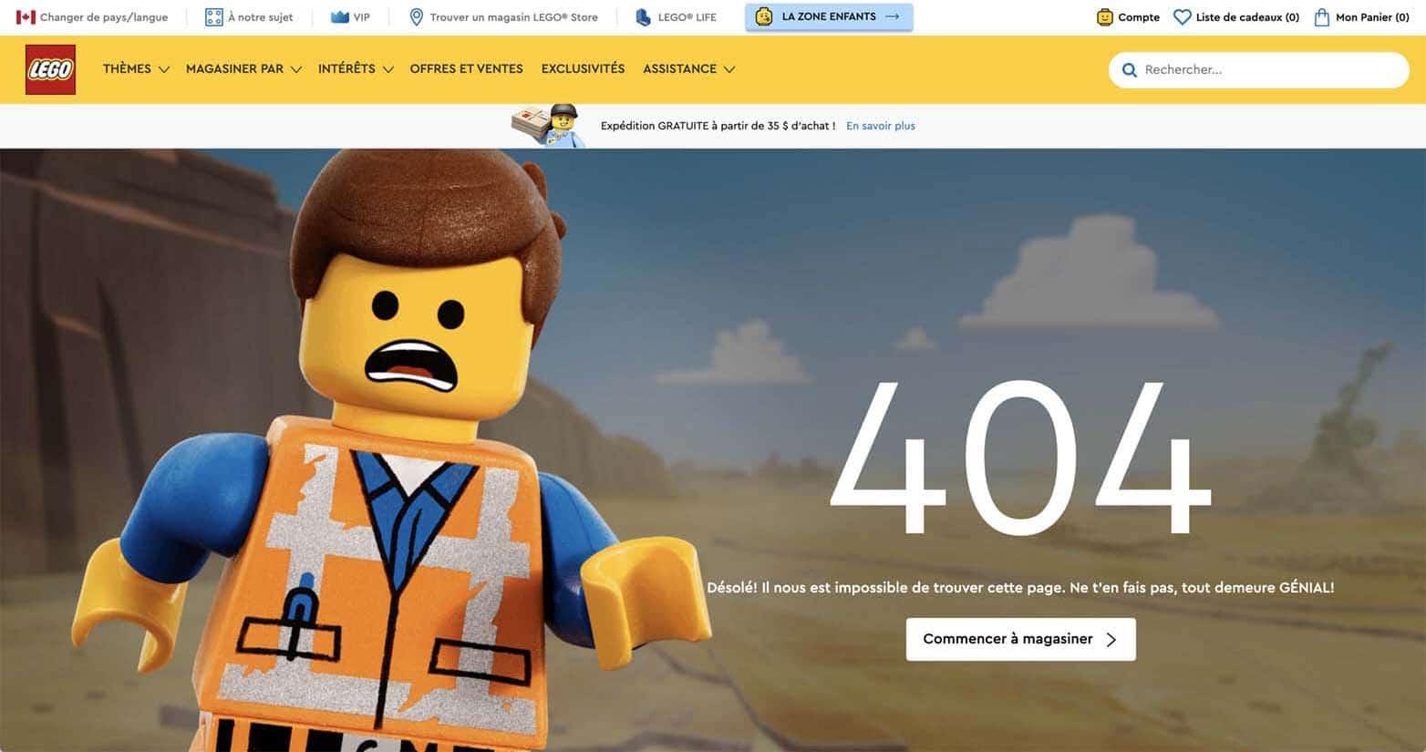 La page d'erreur 404 de Lego