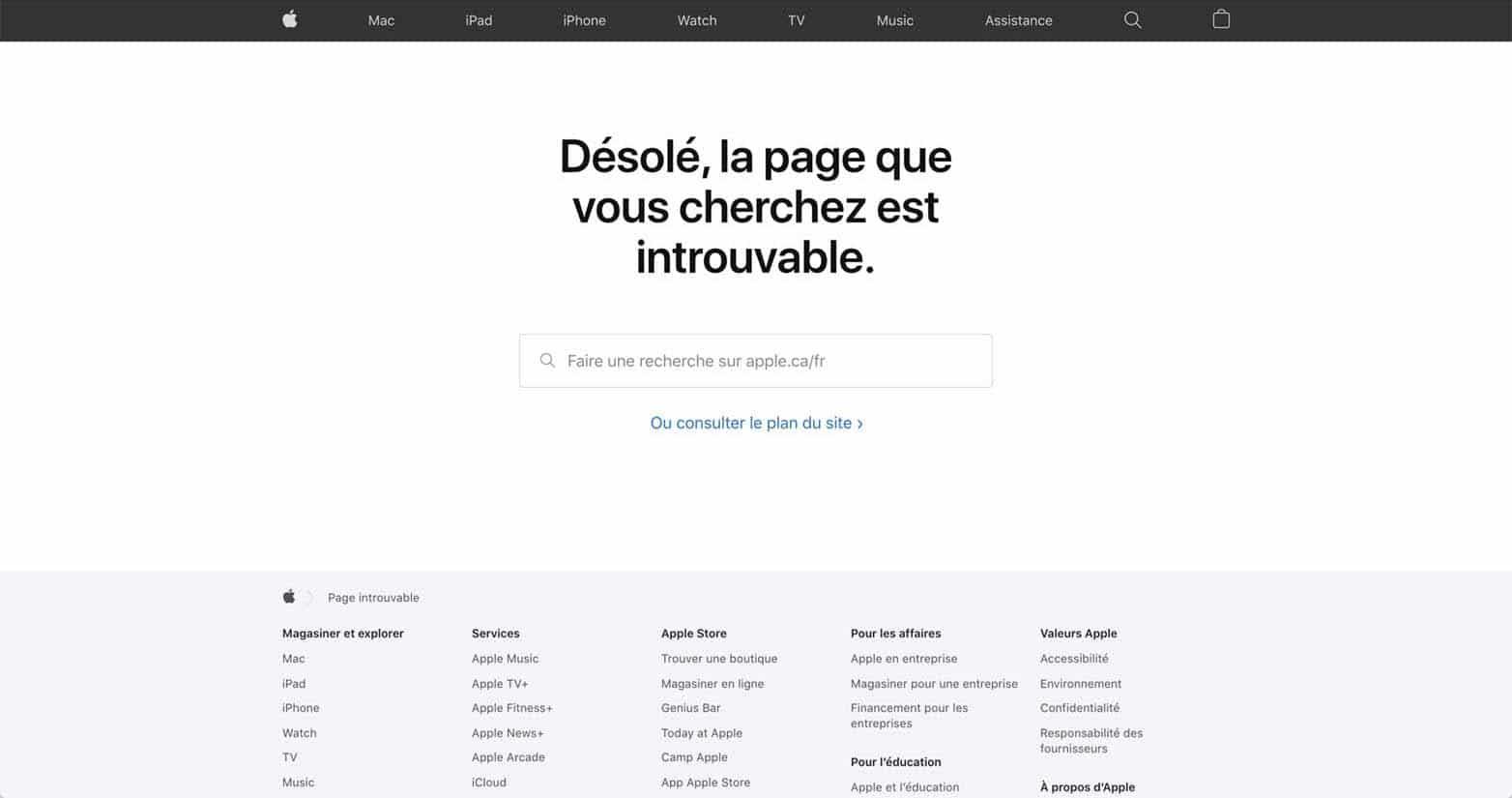 La page d'erreur 404 d'Apple