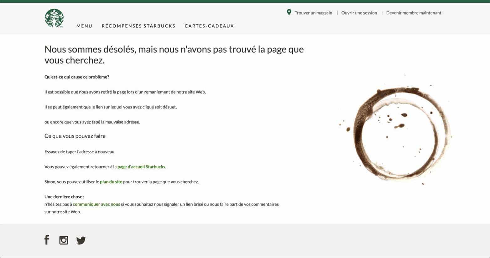 La page d'erreur 404 de Starbucks