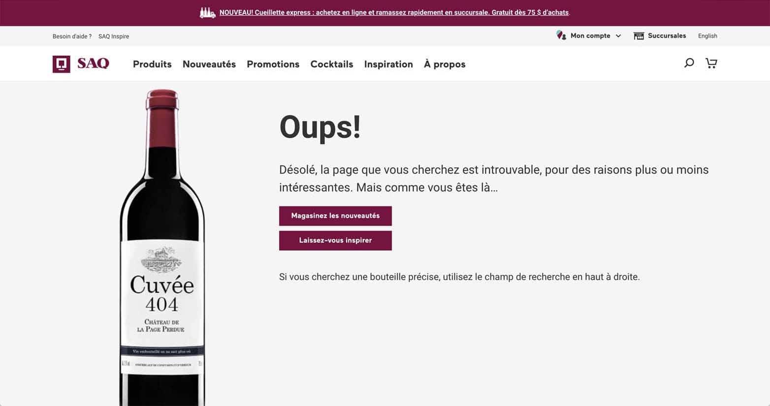 La page d'erreur 404 de la SAQ