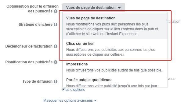 Vues de page de destination et clics sur un lien lors de la création d'une publicité Facebook.