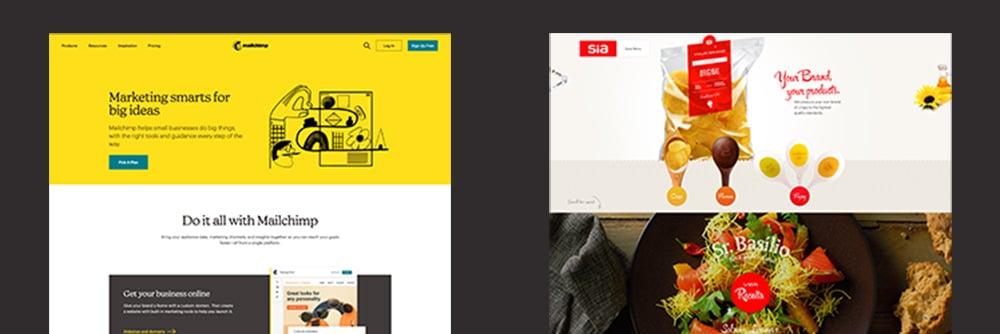 Comparaison entre un flat design et un design plus réaliste pour un site Web