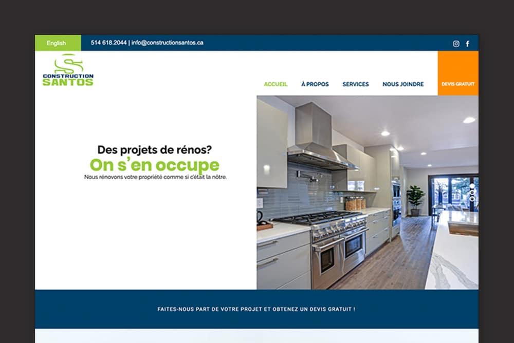 L'utilisation du flat design sur le site Web de Constructions Santos