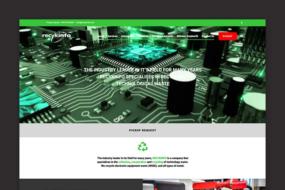 L'utilisation du flat design sur le site Web de Recykinfo