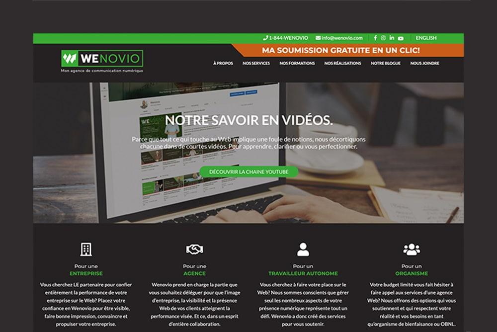 L'utilisation du flat design sur le site Web de Wenovio