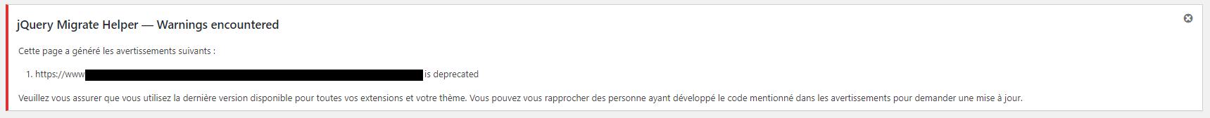 Exemple d'une notification affichée par l'extension Enable jQuery Migrate Helper.