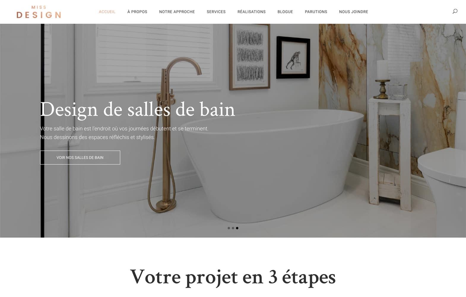 Le menu horizontal sur le site Web de Miss Design