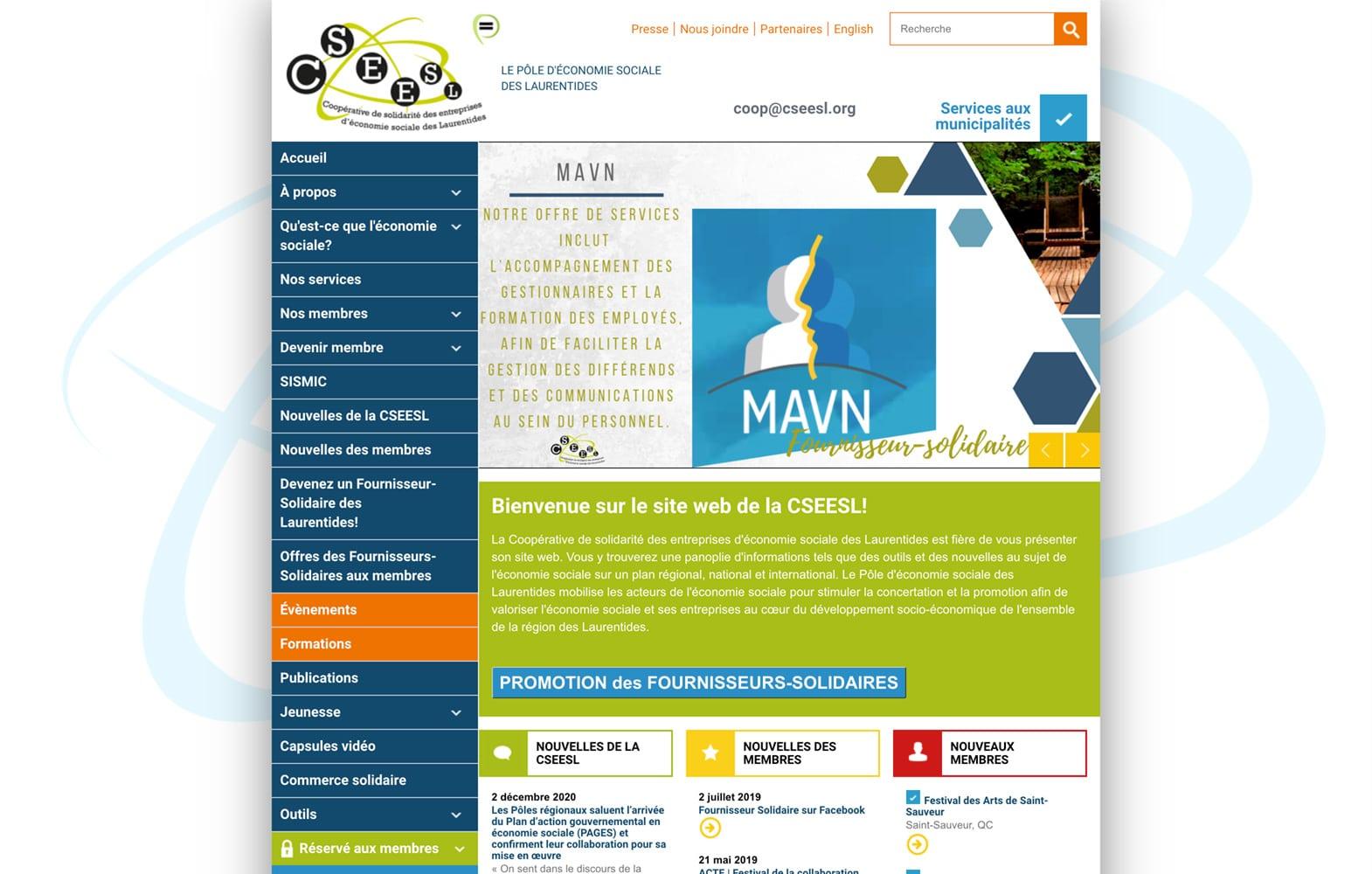 Le menu vertical sur le site Web de la CSEESL