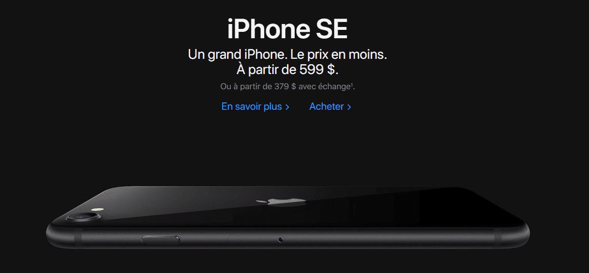 Exemple de rédaction d'une page du site Web d'Apple.