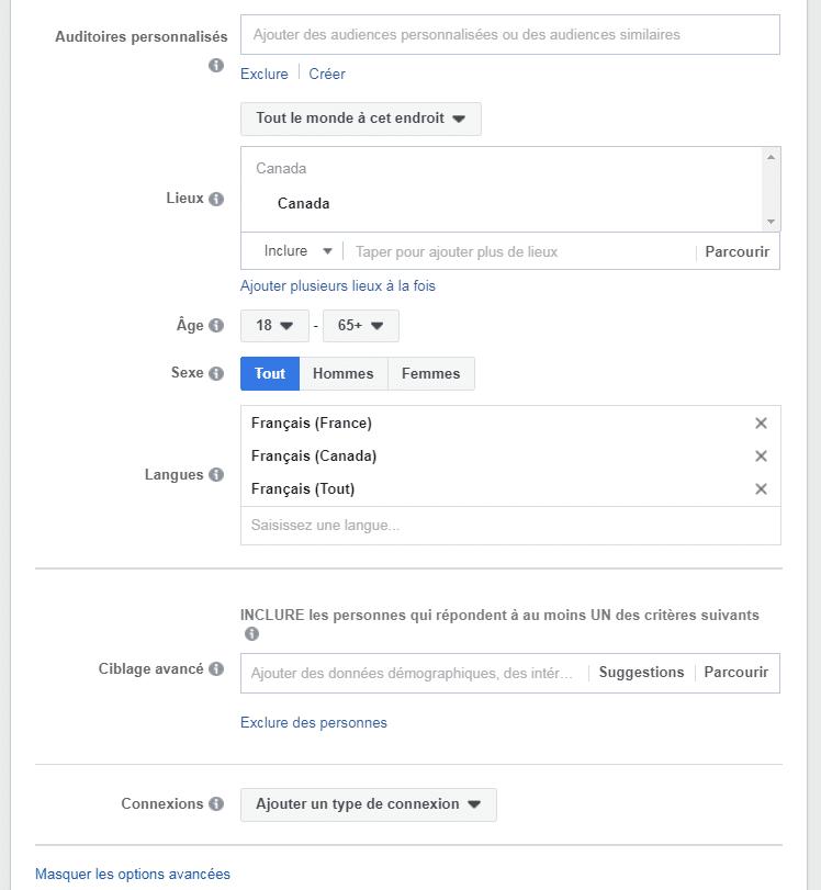 L'auditoire d'une campagne de retargeting sur Facebook