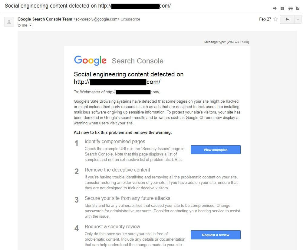 Courriel de notification de la Google Search Console