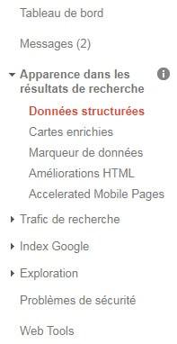 Le menu de la Google Search Console