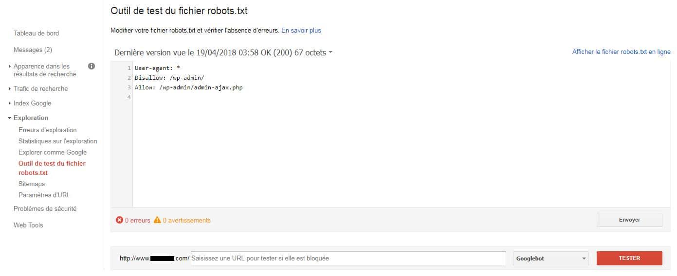 Soumettre le robots.txt à la Google Search Console.