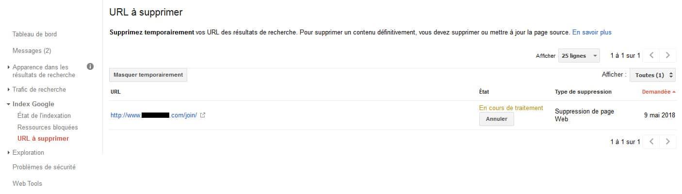 URL à supprimer dans le Google Sear h Console