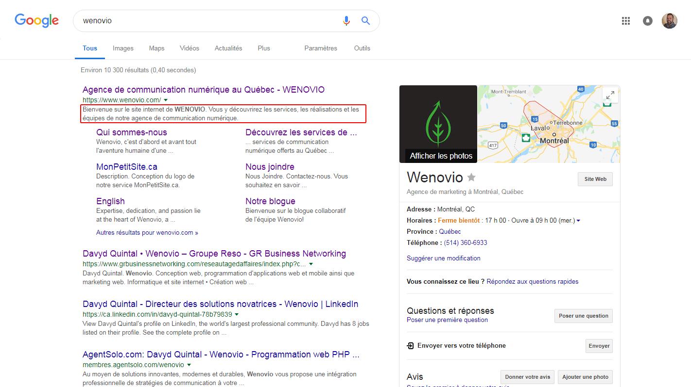 Résultats de recherche du positionnement Google.
