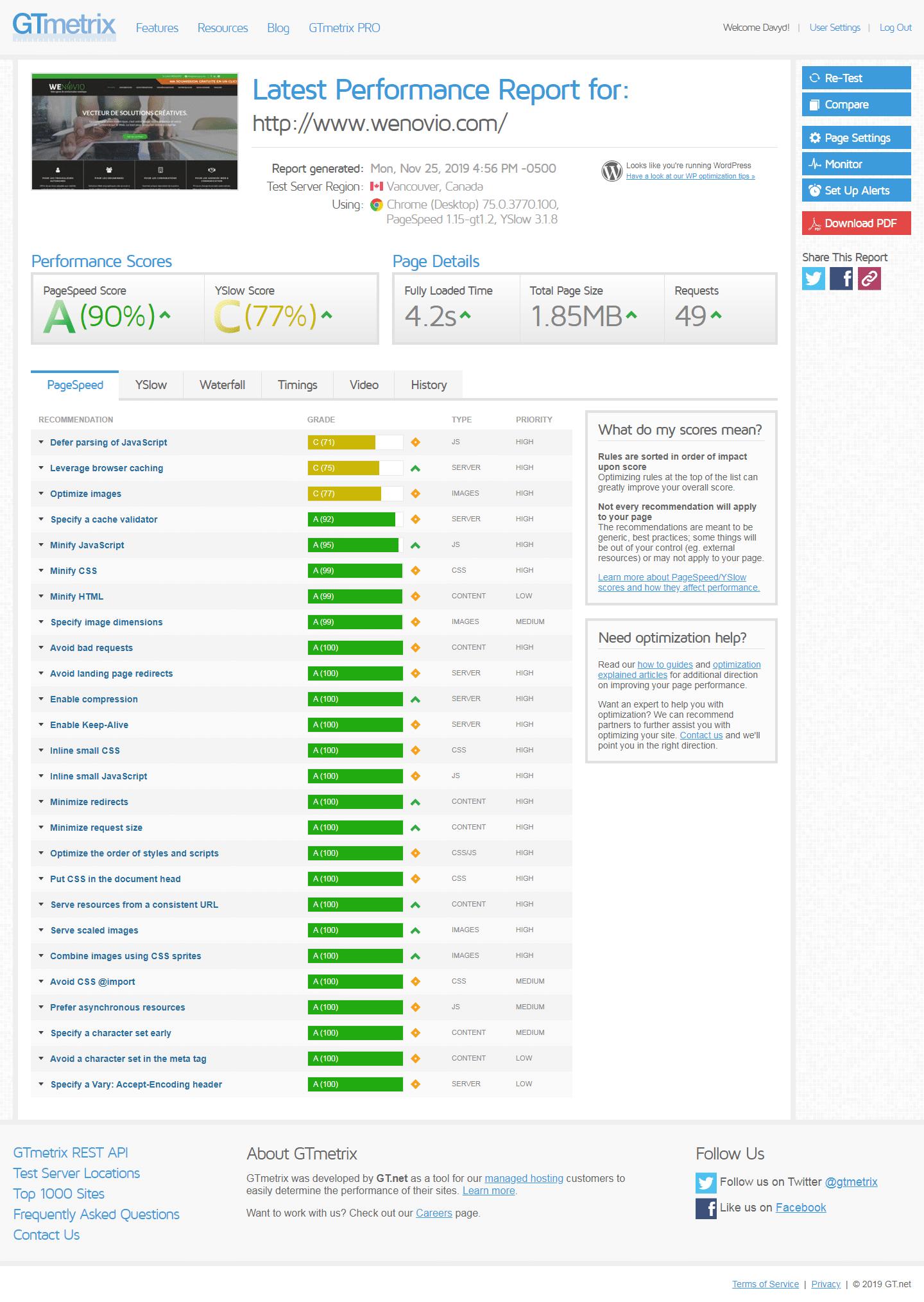 Exemple d'un rapport GTmetrix quand mon site WordPress est lent