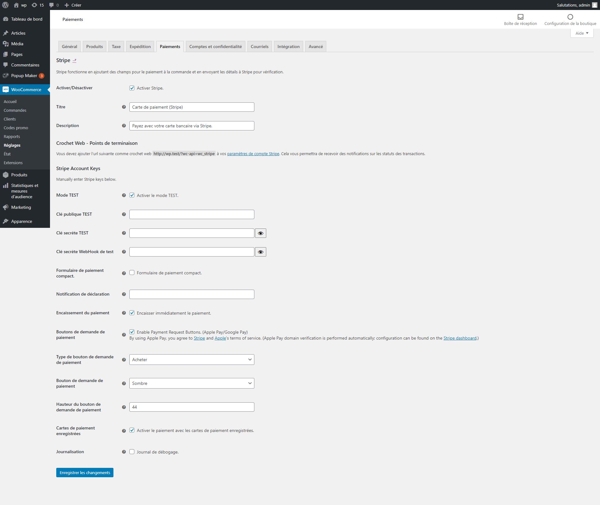 Configuration de l'extension Stripe pour Google Pay et Apple Pay