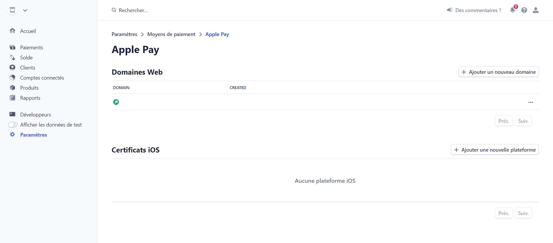 Configurations Apple Pay de  l'extension Stripe pour WordPress