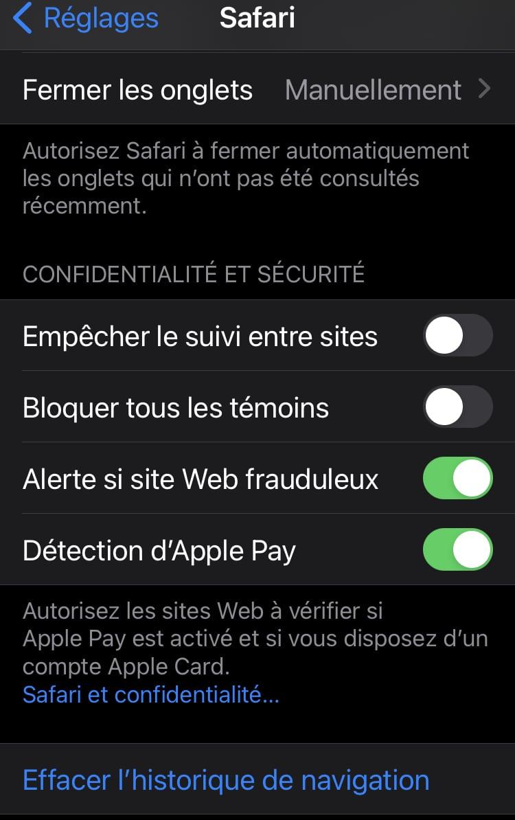 Activer Apple Pay sur Safari