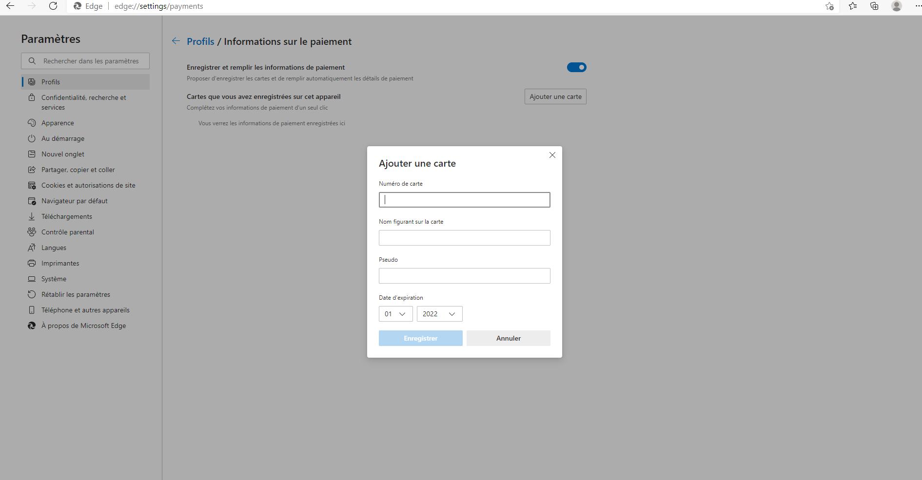 La configuration de Microsoft Pay sur Edge