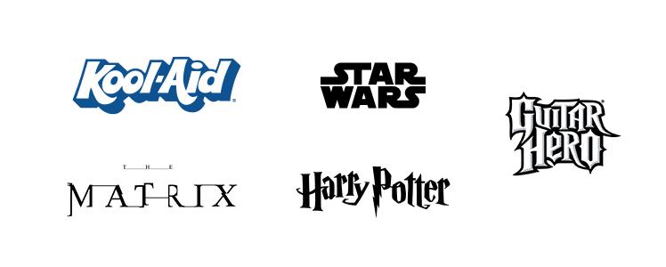 Exemples de typographies décoratives.