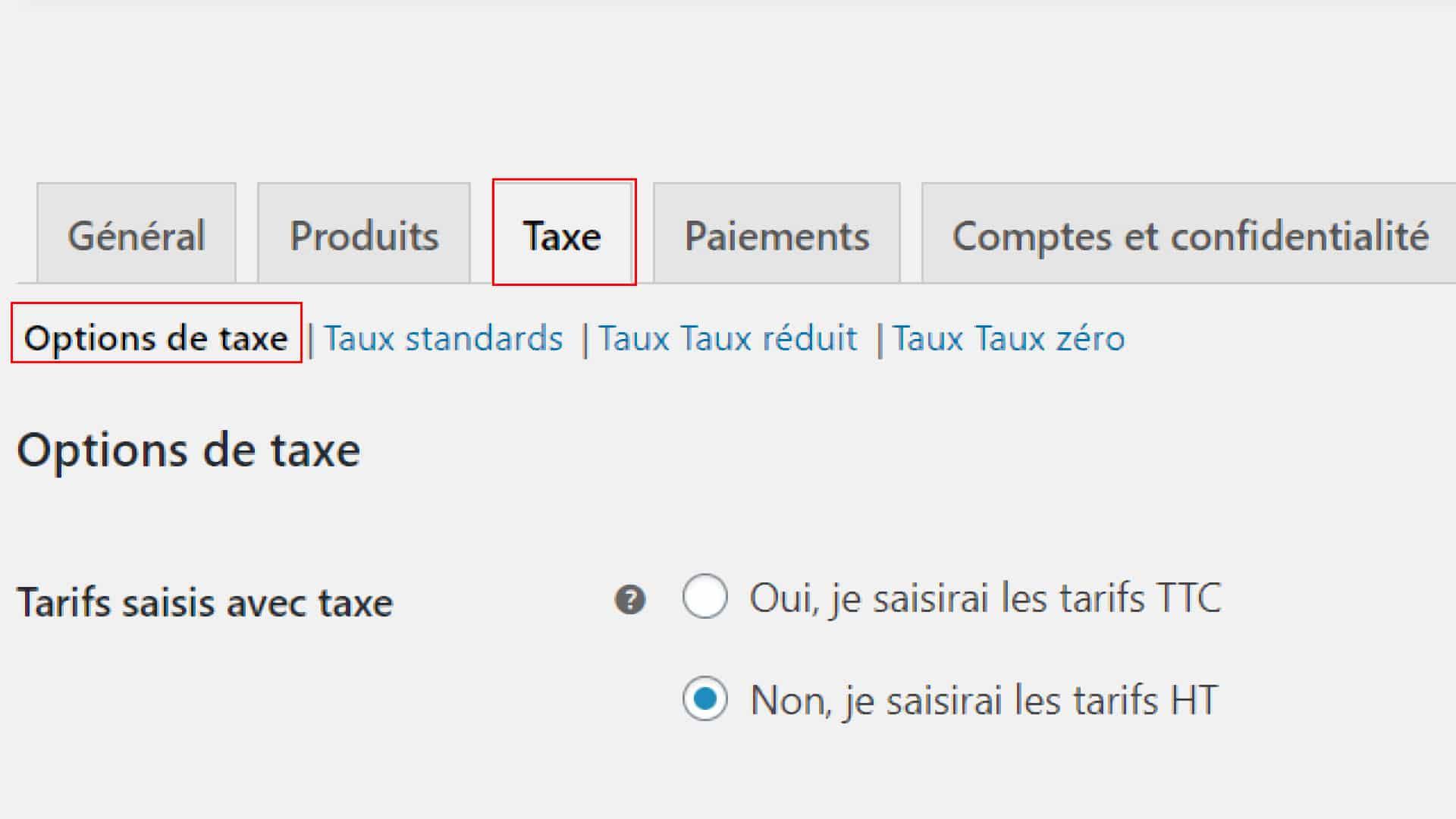 Les options de taxe