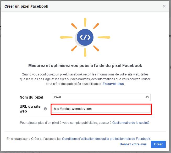 Le pixel Facebook est créé