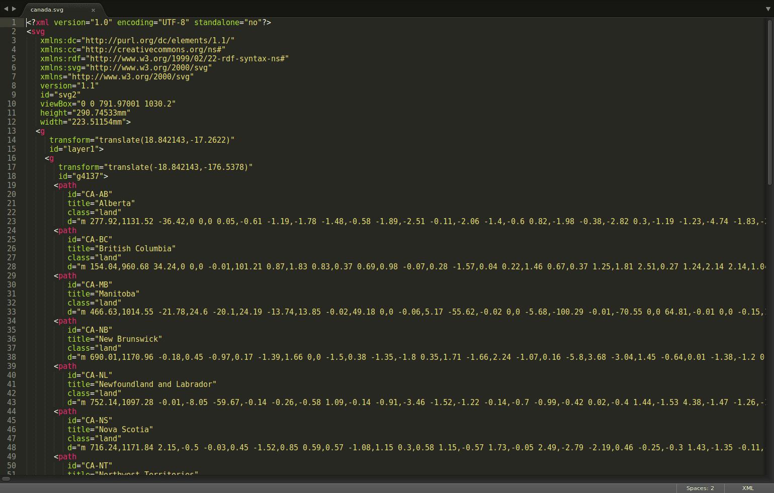 Code d'un fichier SVG