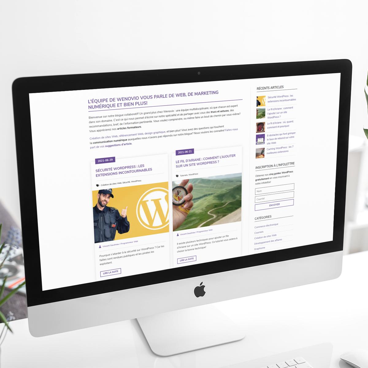Créer un site Web : le blogue sur un ordinateur
